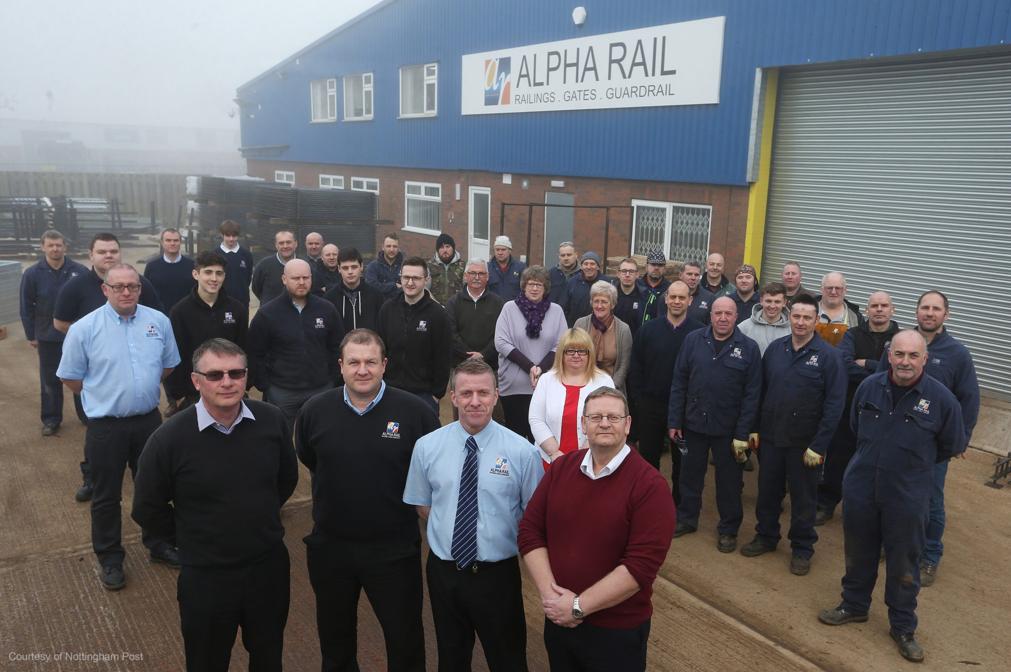 IN PICTURE: Staff at Alpha Rail in Huthwaite.  Pictured front l-r is directors Phil Ball, Dean Briggs, Mark Sipson and Steve Shirley. Pics at the new Alpha Rail headquarters, and with the main directors and of some staff.  The company is one of the UK's biggest manufacturers of metal railings and gates, and has moved from its previous home in Kirkby-in-Ashfield after outgrowing the premises.  Booked by Dan Robinson  Contact is: Phil Ball Sales Director
