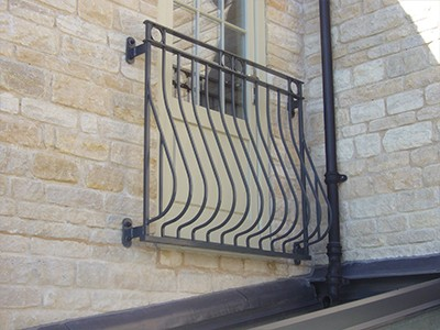 galvanized and polyester powder mild steel Bow Fronted Rufford Juliette Balcony which are compliant with Building Regulations