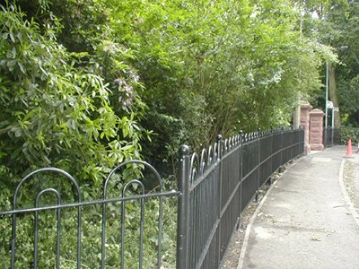 galvanized and polyester powder coated mild steel bow top railings which are complaint with BS 1722 Part 9
