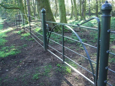 galvanized and polyester powder coated mild steel estate railings which are complaint with BS 1722 Part 9