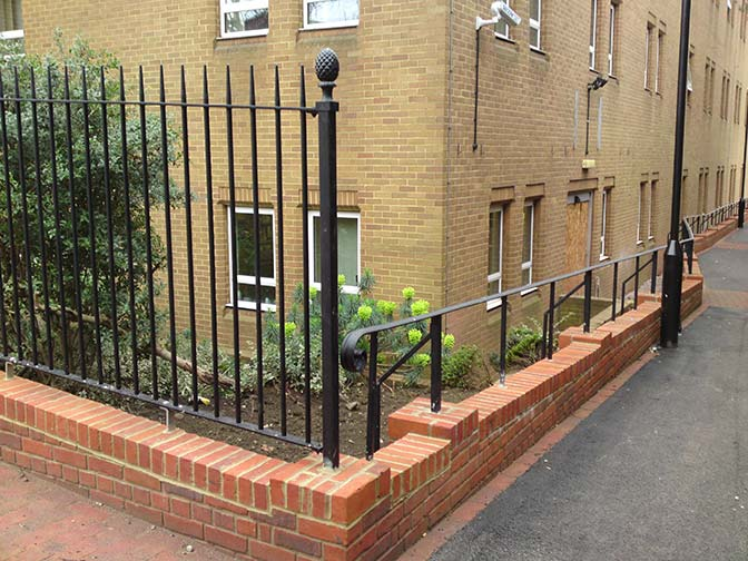 galvanized and powder coated mild steel decorative vertical bar railings which are complaint to BS 1722 Part 9.