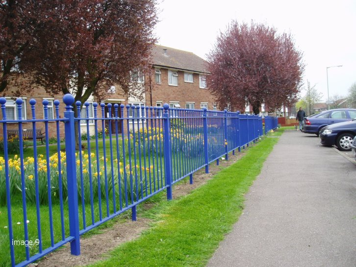 Example of Raked Metal Railings