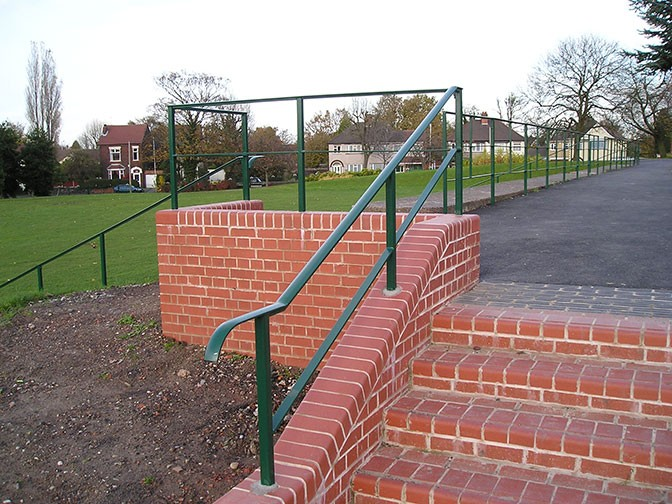 galvanized and polyester powder coated mild steel handrails which are compliant to BS 1722 Part 9
