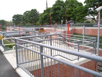 galvanized and polyester powder coated mild steel pedestrian guardrail and handrails.