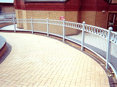 galvanized and polyester powder coated mild steel pedestrian guardrail.