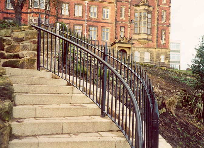 galvanized and polyester powder coated mild steel 'Westminster' style vertical bar railings which are complaint to BS 1722 Part 9.
