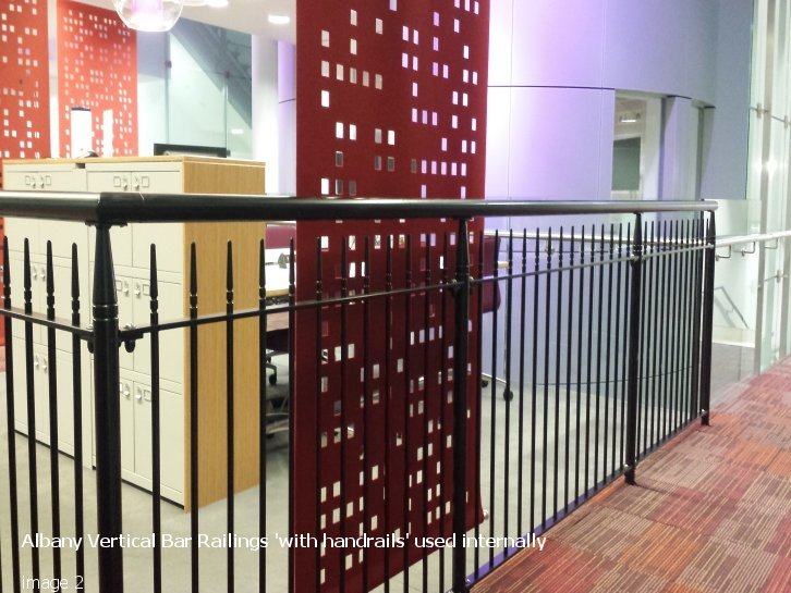 Albany style vertical bar railings with handrail