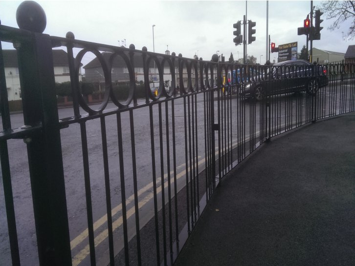 galvanized and polyester powder coated decorative optirail pedestrian guardrail with rings spheres and see throuogh posts