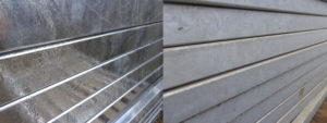 An example of our pedestrian guardrail developing zinc patina
