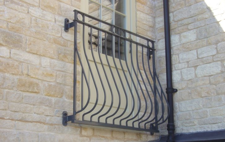 galvanized and powder coated mild steel Bow Fronted Rufford Juliette Balcony compliant with Building Regulations.