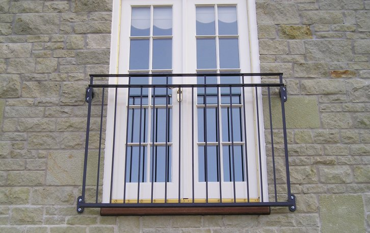 galvanized and powder coated mild steel Byron Juliette Balcony compliant with Building Regulations.