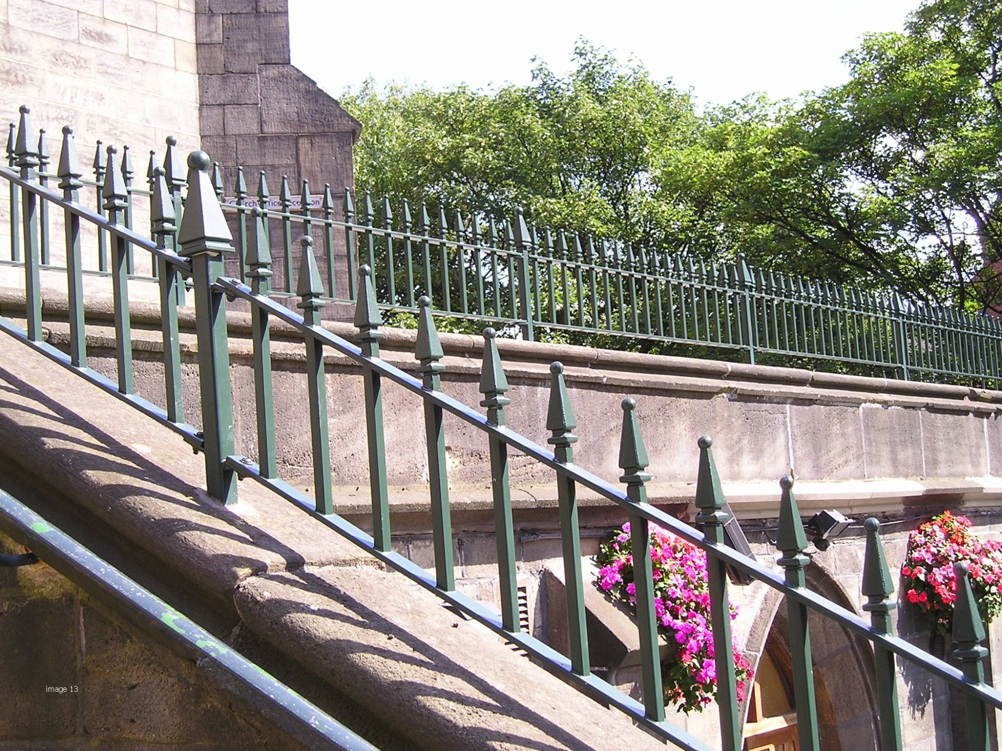 Mild steel Churchill style vertical bar railings