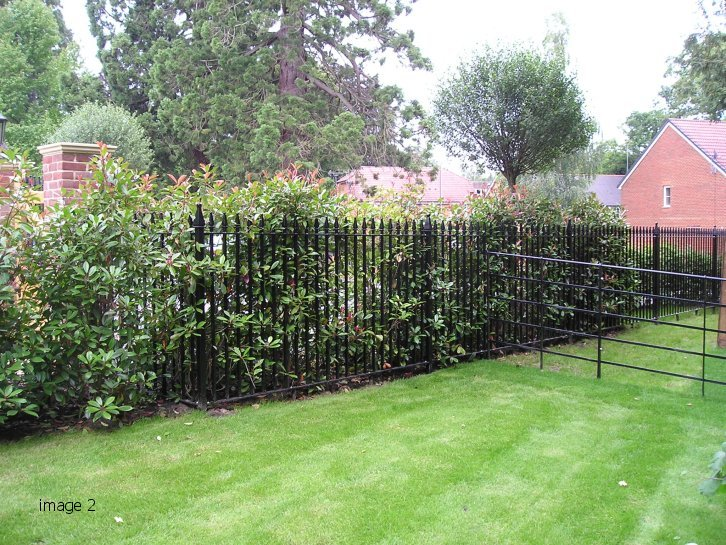 Galvanised and powder coated mild steel Churchill style railings