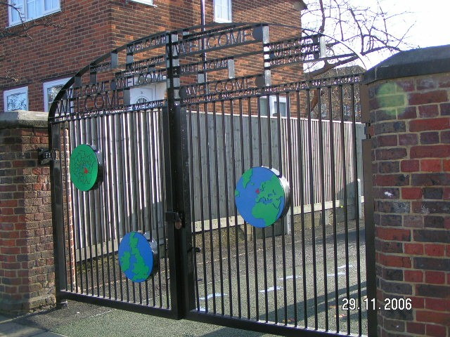 galvanized and polyester powder coated mild steel decorative gate complete with lettering which are complaint to BS 1722 Part 9.