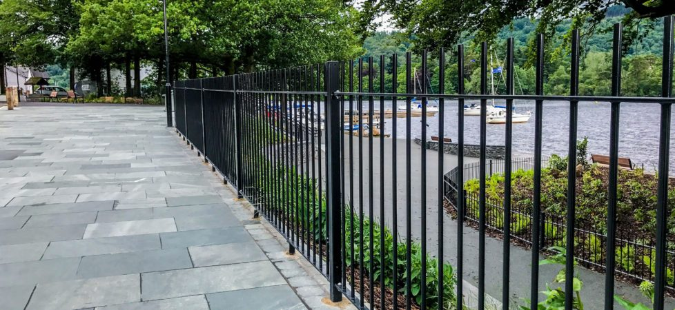 galvanized and powder coated vertical bar railings