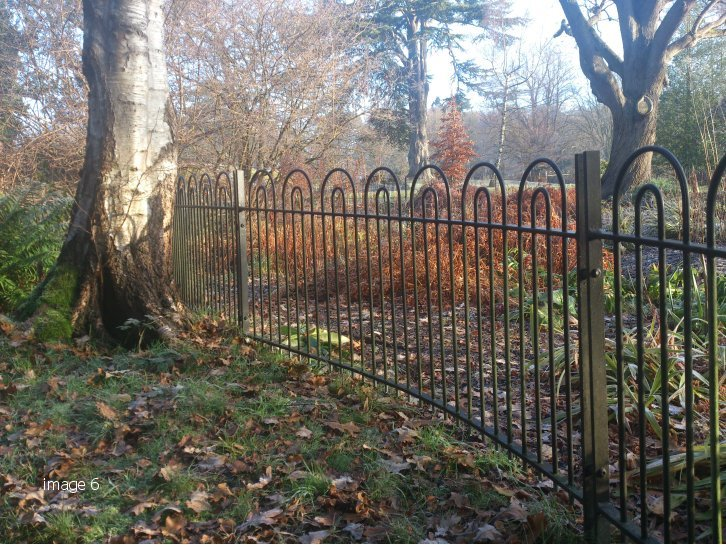 Galvanised and powder coated mild steel Hollinwell style bowtop railings