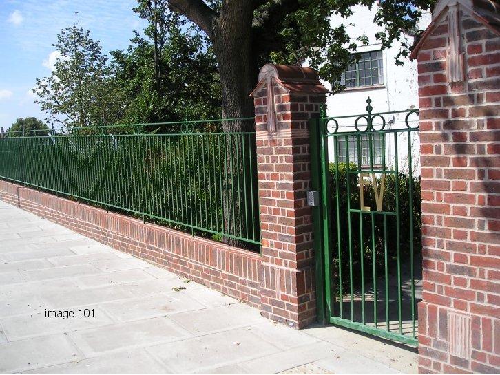 Decorative railings and gates with EV emblem