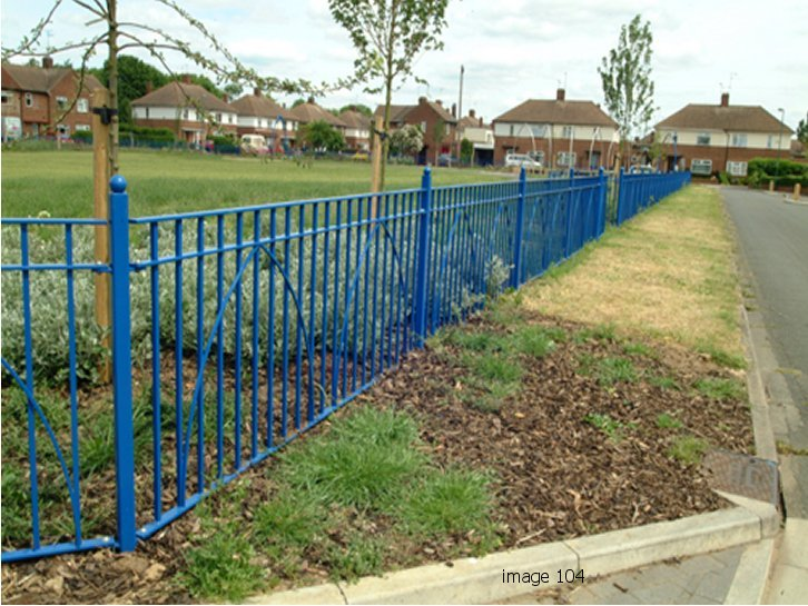 decorative mild steel flat top railings galv and powder coated
