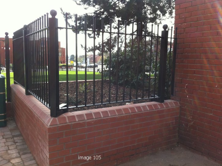 decorative vertical bar railings c/ w sphere on top of post