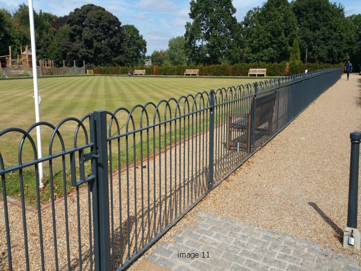 mild steel galvanized and powder coated interlaced bow top railings