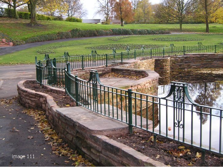 decorative flat top railings galvanized and coated to pond surround