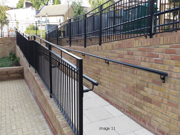 Flat Top Metal Railing With Angled Or Vertical Bars