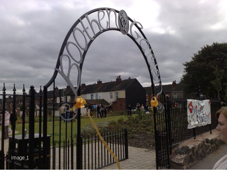 mild steel decorative feature archway with letters