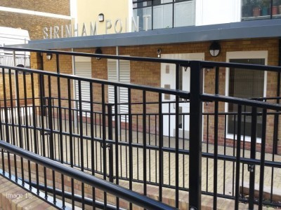 Mild steel flat top railings with handrails