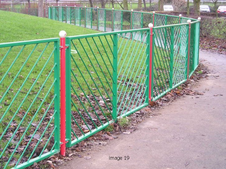 Mild steel chevron style flat top railings