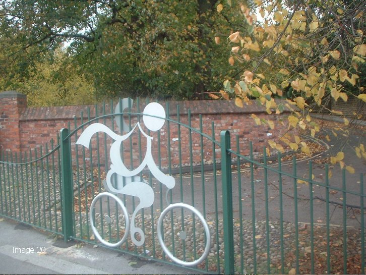 mild steel galvanized and painted decorative railings with cycle motif
