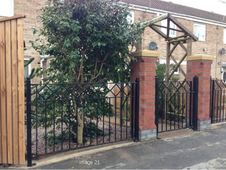 Mild steel gate with diamond detail