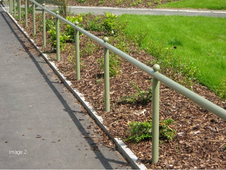 galvanized and powder coated trip rail with ball feature
