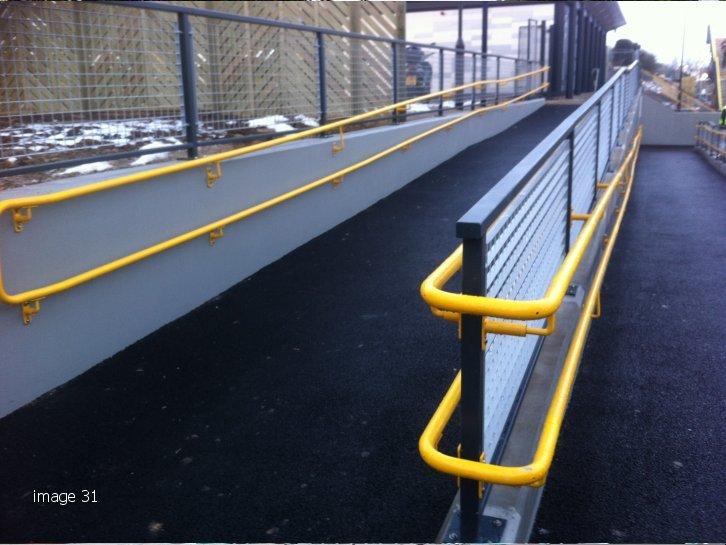 Galvanised and powder coated mild steel handrail