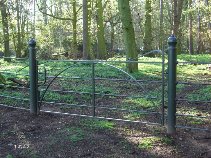 Galvanised and painted estate rail gate