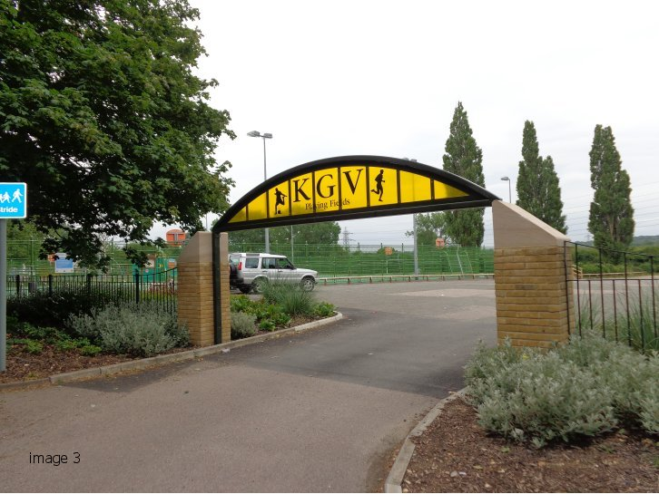 mild steel decorative archway to playing fields