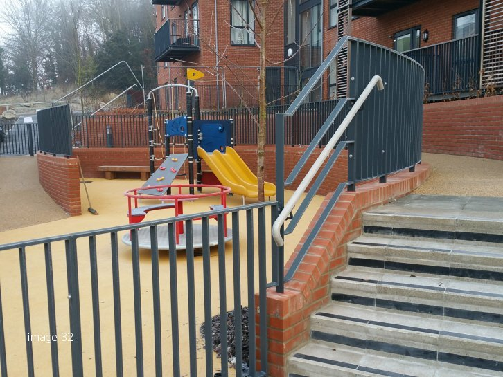 galvanized and powder coated flat top railings new build housing estate