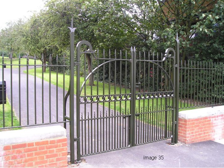 Galvanized and powder coated decorative vertical bar gate
