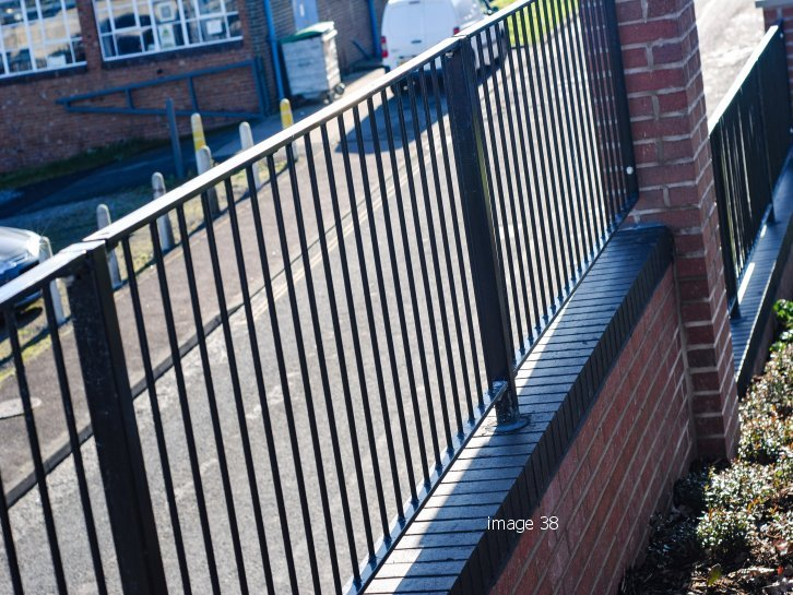 galvanized and powder coated mild steel flat top railings