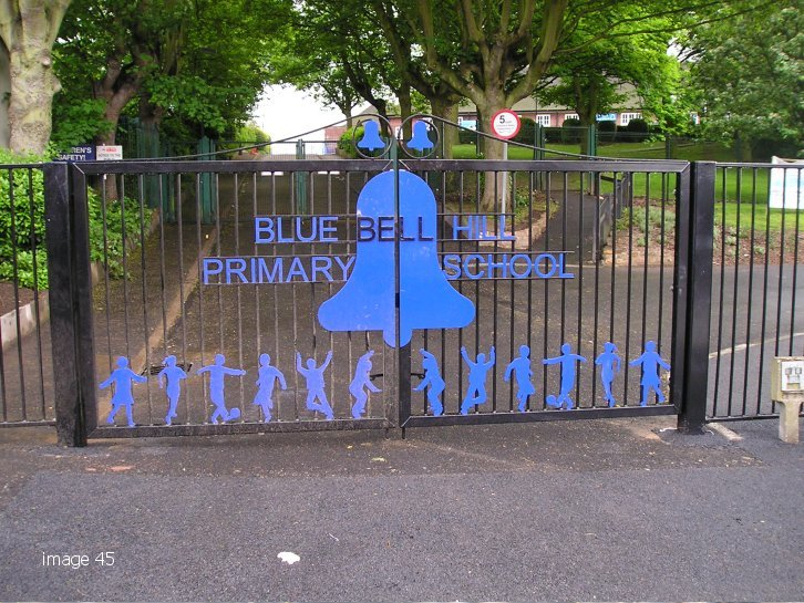 Bespoke school gate with laser profiled letters and children
