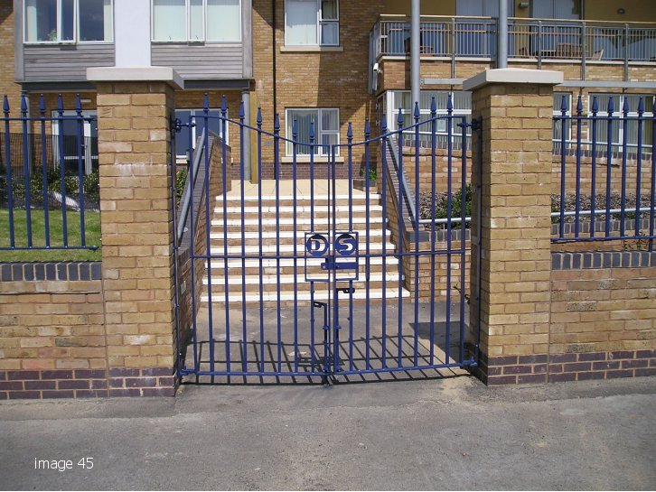 galvanized and powder coated mild steel Churchill style gate to match railings