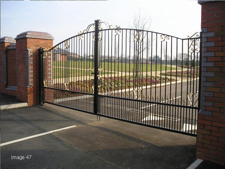 mild steel galvanized and powder coated double leaf gate
