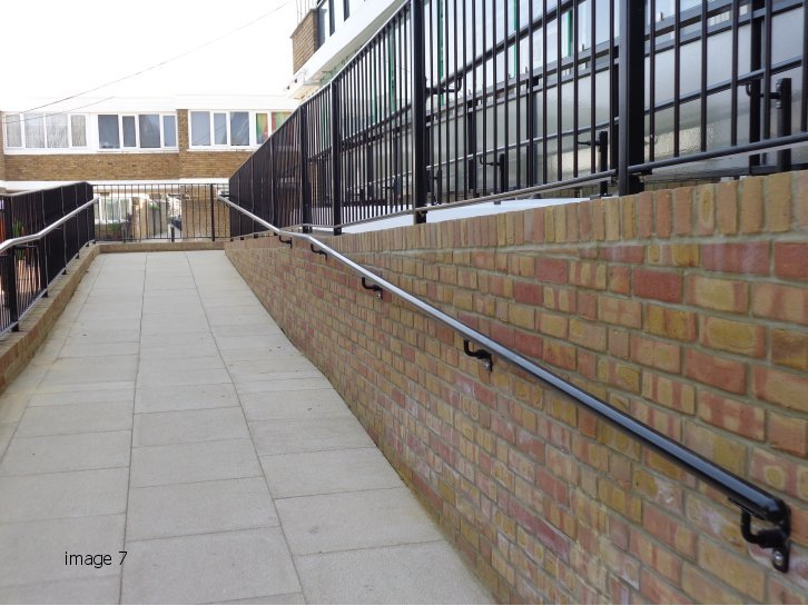 mild steel balustrade galvanized and powder coated with handrail