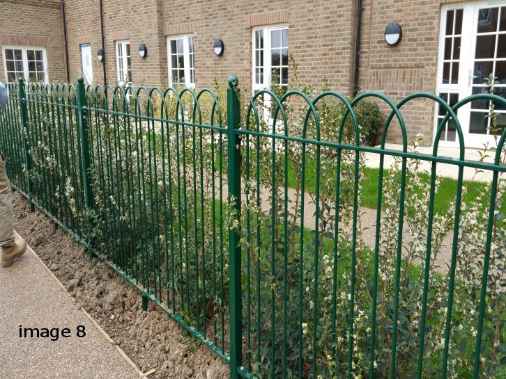 galvanized and powder coated mild steel interlaced bow top railings