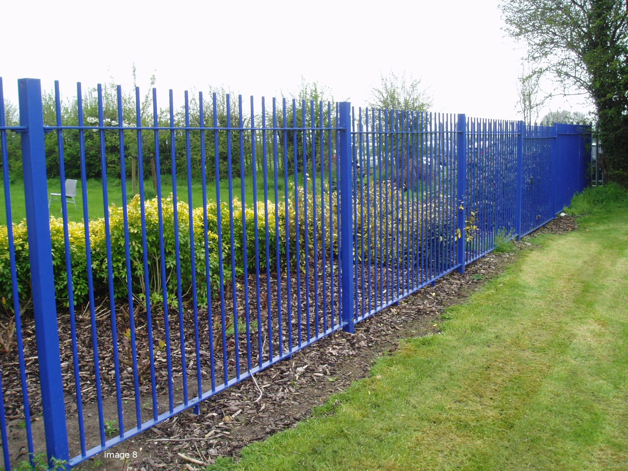 Galvanised and powder coated mild steel vertical bar railings