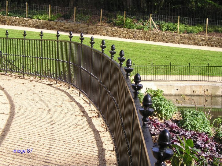 Decorative flat top railings with sphere details