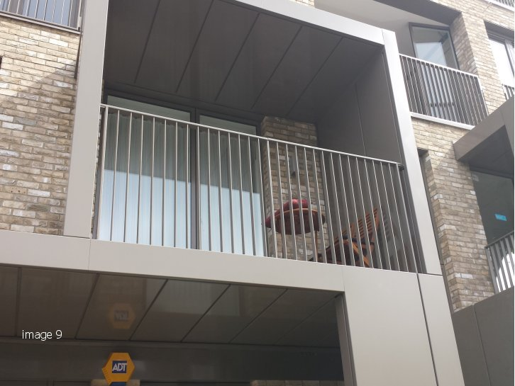 mild steel galvanized and powder coated balustrade surrounding South Kilburn Estate