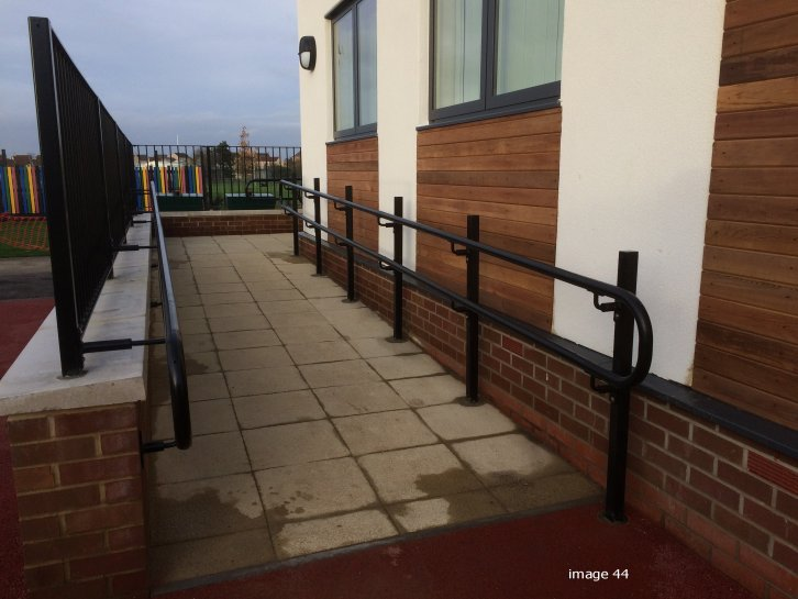 mild steel two rail handrail to disabled school