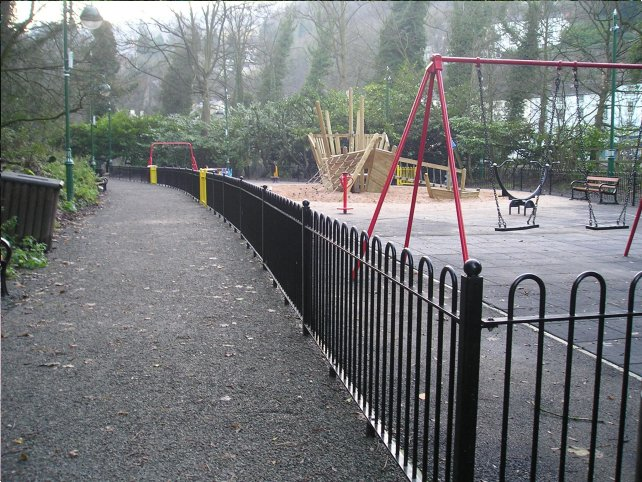 galvanized and powder coated mild steel standard bow top railings which are complaint to BS 1722 Part 9.