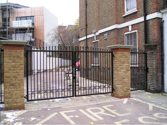 galvanized and polyester powder coated mild steel decorative railings and gate which are complaint to BS 1722 Part 9.