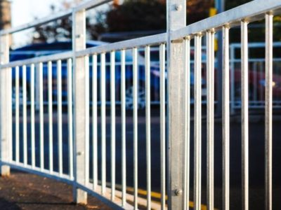 Mild steel galvanised pedestrian guardrail